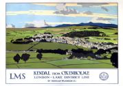 Kendal from Oxenholme, Lake District, Cumbria. LMS Vintage Travel Poster by Norman Wilkinson